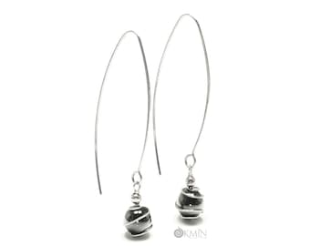 Sterling Silver Drop Earrings with Natural Black Hematite by OKMIN Unique Handcrafted Gothic Jewelry Gift for Lady Free UK Shipping E2455HES