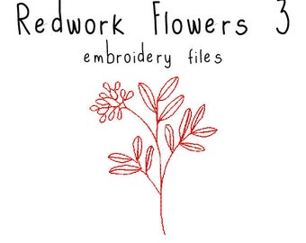 Redwork Flowers EMBROIDERY MACHINE FILES pattern design hus jef pes dst all formats red work simple Instant Download digital applique cute