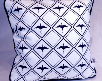 Blue flying dragons pillow