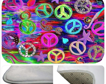 Psychedelic Peace Sign plush non-skid floor mat  from my art