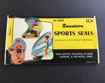 Vintage Dennison Gummed Sports Seals, No. 8905