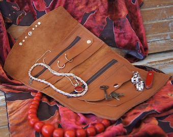 Luxurious Leather Jewelry Roll, Travel Pouch, Travel Accessory