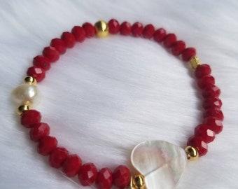 MOP Heart Bracelet