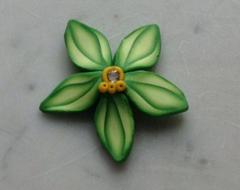 Green Orchid - Polymer clay-brooch