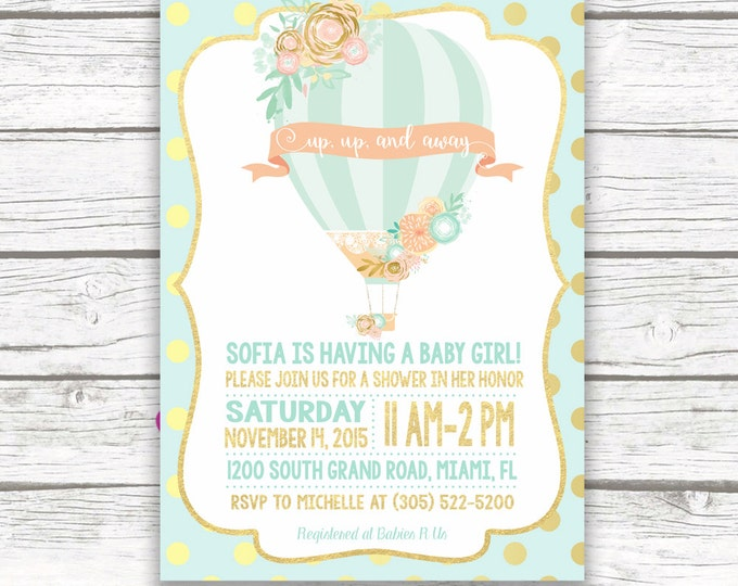 Gold Foil Hot Air Balloon Baby Shower Invitation, Mint and Peach, Mint and Pink, Pastel Baby Shower Invitation, Printed Printable Invitation