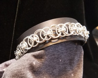 """10"""" Leather and Silver Chainmaille Bracelet"""