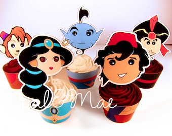 Instant Download Aladdin Princess Jasmine Digital Printable Party Cupcake Wrappers and Toppers