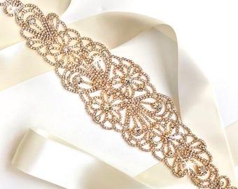 Sash - Mystical Wide Crystal Wedding Dress Sash in Gold - Rhinestone Encrusted Bridal Belt Sash - Extra Wide Wedding Belt - Yellow Gold Belt