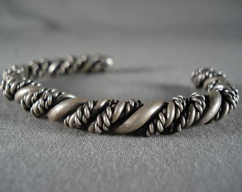 Thick Hand Woven Vintage Navajo Silver Coiled Bracelet