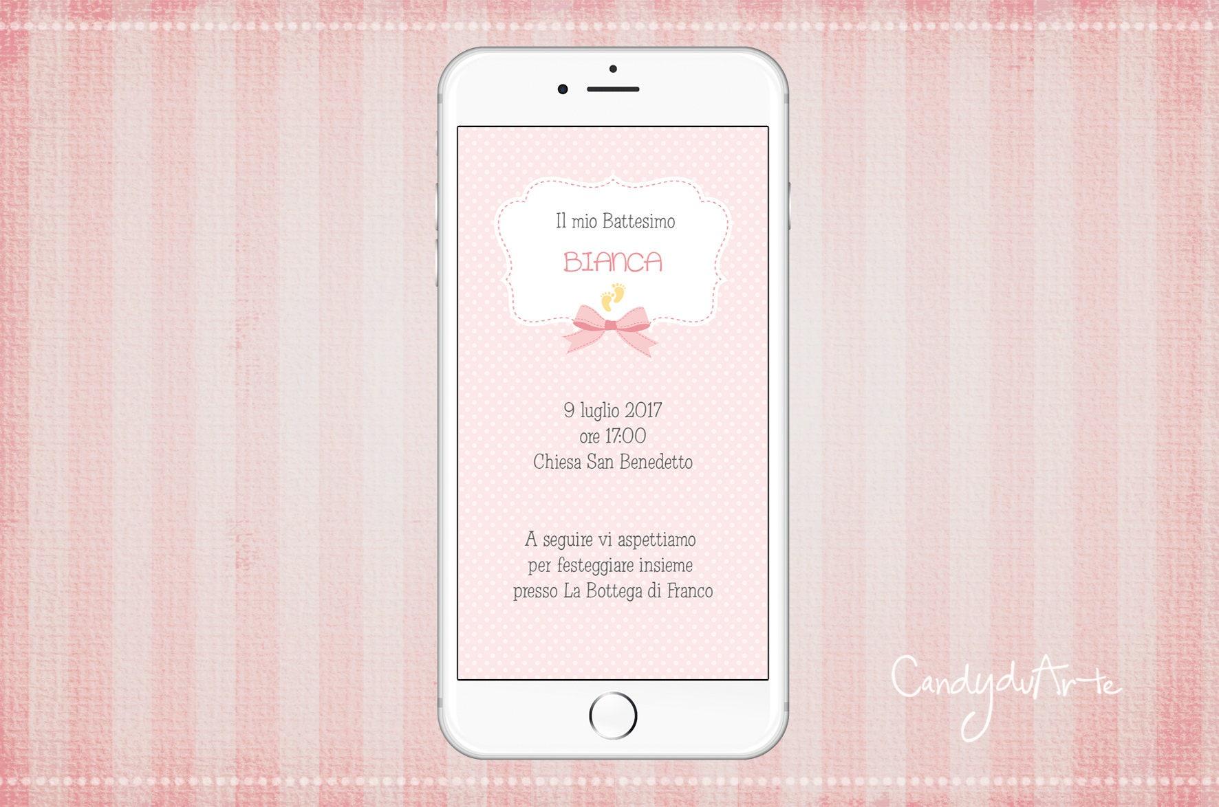 Invitation For Baptism Sms.  zoom Invitation Digital Baptism Whatsapp Baby ribbon SMS