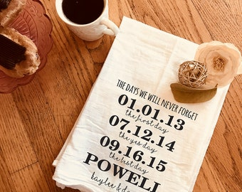 Dish Towel / Tea Towel  / Affordable Wedding Gifts / Housewarming Gift / Wedding Gift / Engagement Gift / Flour Sack Towel / Personalized
