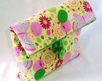 Cosmetic Bag, Purse Organizer, Clutch Purse, Makeup Bag, Fabric Bag, Yellow, Pink, Green, Butterflies, Flowers, Toiletry Bag