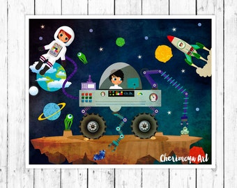 Outer Space Illustration Boys Room Decor Nursery Wall Art Print Boys Wall  Art Space Wall Art