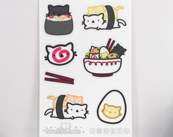 Ramen & Sushi Cat Sticker Sheet Set - Marshmallow Bean (7 High Quality Vinyl Stickers per 1 Sheet) Cute Funny Kawaii Comfort Food Doodle Art