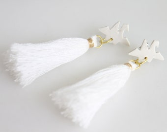 Paper Crane Earrings White