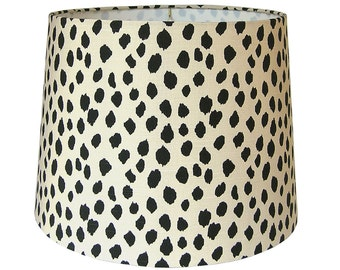 Animal Print Lamp Shade, Dalmatian Lampshade, Dotted Fabric Beige Black Dots, Table Lamp Shade, Multiple Sizes