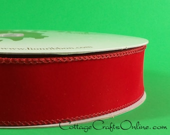 """Christmas Wired Ribbon 1 1/2"""" Red Velvet Style  - THREE YARDS -  Offray """"Christmastime""""  Craft Wire Edged Ribbon"""