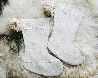 White Mudcloth Christmas Stockings with Pom Poms - Bohemian Christmas Décor - Boho Stocking Mud Cloth
