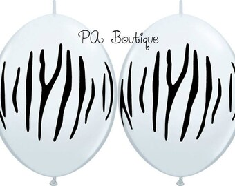 "Black & White Zebra Stripe MAKE BALLOON ARCHES! Quicklinks 12"" Latex Linking Balloons with Free Shipping!"