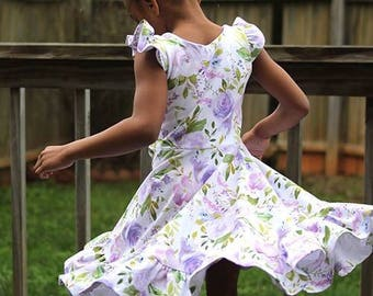 Girls spring dress - girls floral dress - floral dress for girls - purple dress for girls - girls outfit for spring - twirl dress