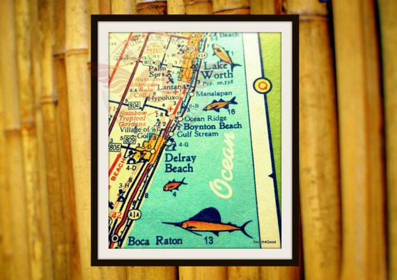 Delray Beach map Florida map art