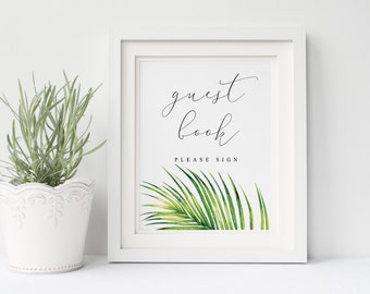 Printable wedding guest book sign, Wedding guest book wreath, tropical green leaves guest book, sign Instant download, The Aura collection