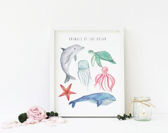 Animals Of The Ocean, Watercolor Printable Wall Art, Nursery, Home Decor, Summer, Whale, Dolphin, Turtle, Starfish, Download, Digital Print