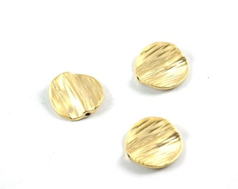 3 pcs - Matte Gold Plated Hammered circle spacer, charm, beads-15x15mm (010-042GP)