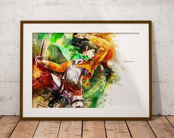 Levi Ackermann Shingeki no Kyojin Poster AoT Print Levi Mikasa Eren Armin Anime Watercolor Art Print, Anime Poster Watercolor Wall Art n328