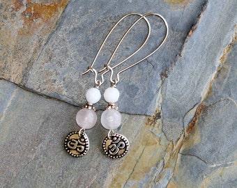 Pink Yoga Earrings, Pink Om Earrings, Rose Quartz Earrings, Natural Stone Earrings, Pink Earrings, Handmade Earrings, Bohemian Earrings