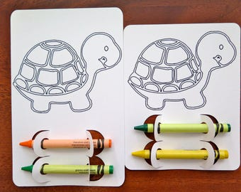 Turtle Kid's Coloring Activity Page | Birthday | Party | Favor | Place Setting | Animal