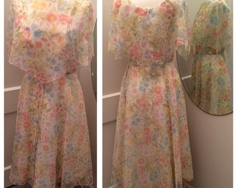 1970's Floral Dress by House of Bianchi, Boston - Vintage sophisticated femininity