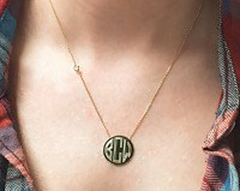 Gold Monogrammed Necklace, Sterling Silver Engraved Necklace, Bridesmaid Gift, Christmas Gift for Her, Girlfriend Gift, Wife Gift