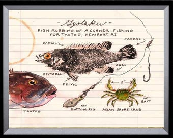"""A Nature Journal page ( with GYOTAKU ) 8 1/2"""" X 11"""" Fish Art Print Cunner and Tautog Beach House decor with crab and fishing rig"""