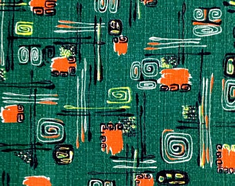 Spectacular Vintage 50s Mid Century Barkcloth Fabric with a Tiki Vibe// Eames Era Chic// Home Decor// Apparel//Upholstery// 6 Yds Available