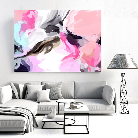 "Courage of Surprise 2, Abstract Painting Modern Wall Art Painting Canvas Art Print Art Modern Pink Blue Black up to 80"" by Irena Orlov"