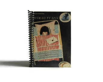 Sleeping Girl Notebook A5 Spiral Bound - 5x7 Inches, Back to School, Writing Journal, Blank Sketchbook, School Supply, Cute Gifts Under 25