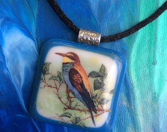 Bird on a Limb - Fused Glass Pendant ready to wear with black cord necklace