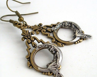 She Hung the Moon Bronze and Silver Dangle Earrings Crescent Moon Jewelry