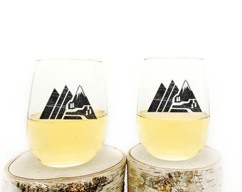 Wine Glasses - Retro Mountain - Stemless Wine Glasses - Set of Two Wine Glasses 17oz.