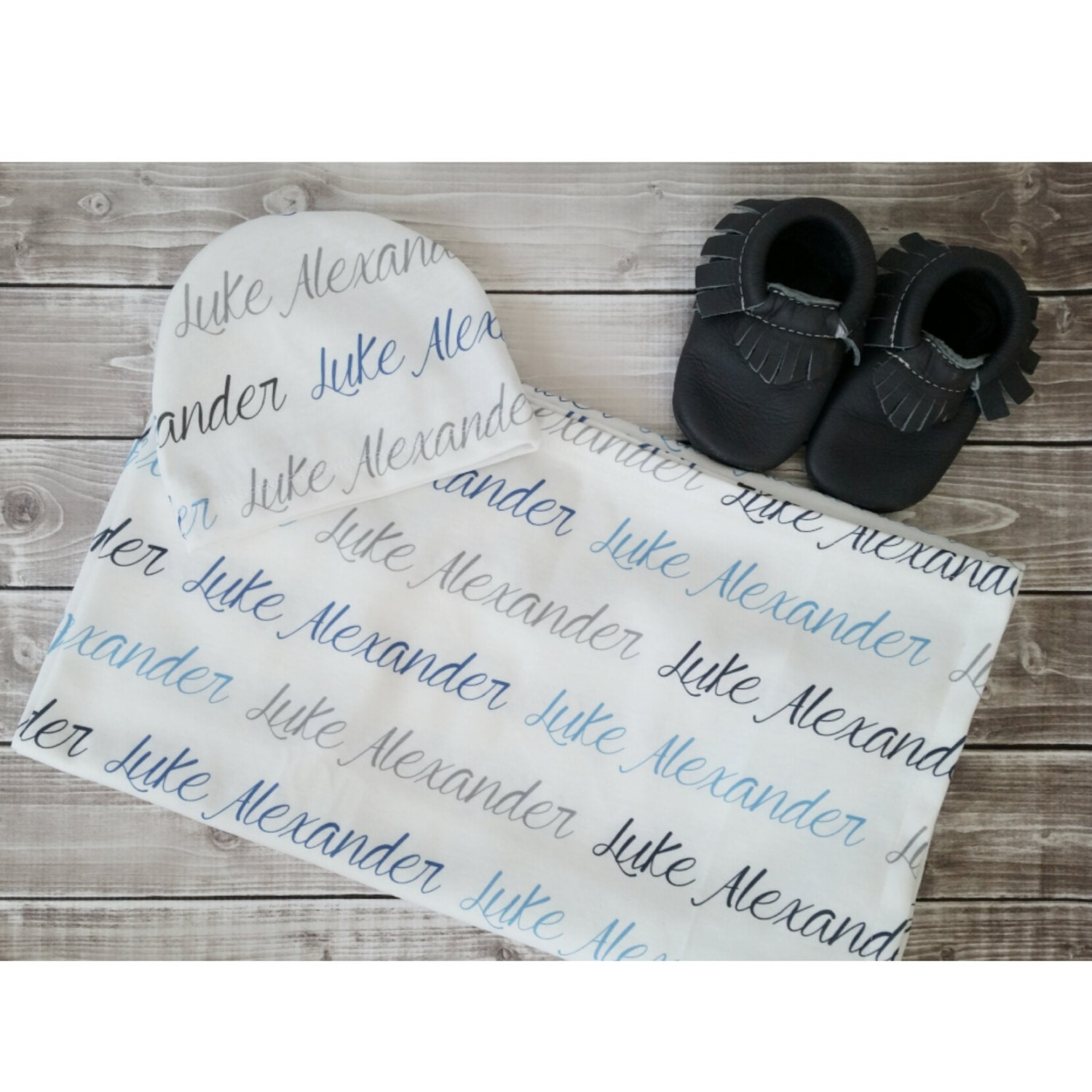 Personalized baby name hat and swaddle blanket set baby and
