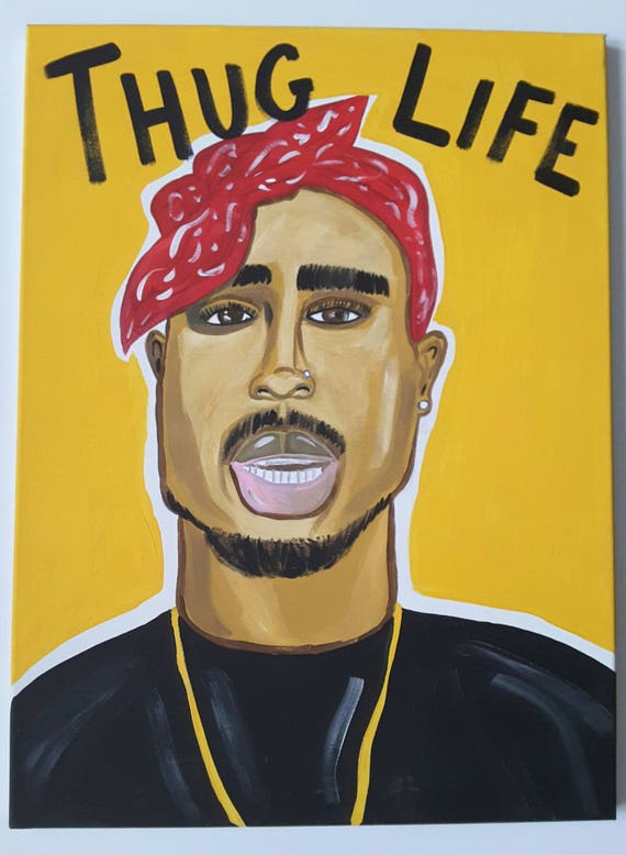 Dope Wall Canvas Tupac Hand Painted Canvas Thug Life