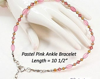 Ladies Anklet, Pink Ankle Bracelet, Pink Anklet, Pink Plus Size Bracelet - AB0906-8