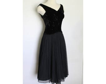 1950s Black New Look Party Dress - Velvet Bodice - Sheer Crepe Skirt