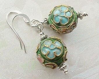 Marie Antoinette Earrings French Inspired Earrings Cloisonne Earrings Lightweight Earrings Boho Earrings Floral Cloisonne Bead Earrings