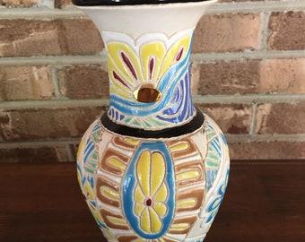 1940's Vietnames Ceramic Vase Floral Etched Vibrant Colors  True Vintage