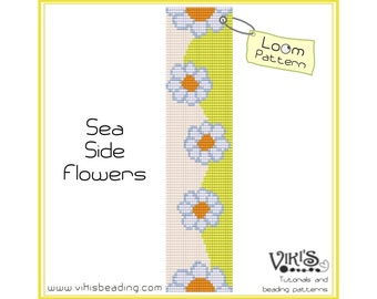 Loom Bracelet Pattern: Sea Side Flowers - INSTANT DOWNLOAD pdf - Special savings with coupon codes - bl110