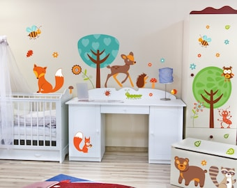 042 Wall Decals Forest friends owl, Raccoon & Co. * Nikima * in 6 verse. Sizes