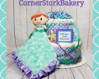Mermaid Diaper Cake| Mermaid Baby Shower| Mermaid Baby Gift| Girl's Diaper Cake| Mermaid Baby Shower Centerpiece| Baby Girl Gift| Mermaid