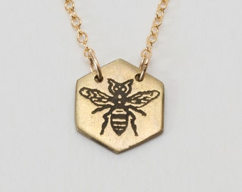 Bee Necklace - Bumble Bee - Bee Charm - Bee Jewelry - Honey Bee - Sacred Geometry - Delicate Jewelry- Hexagon Necklace - Simple Necklace -